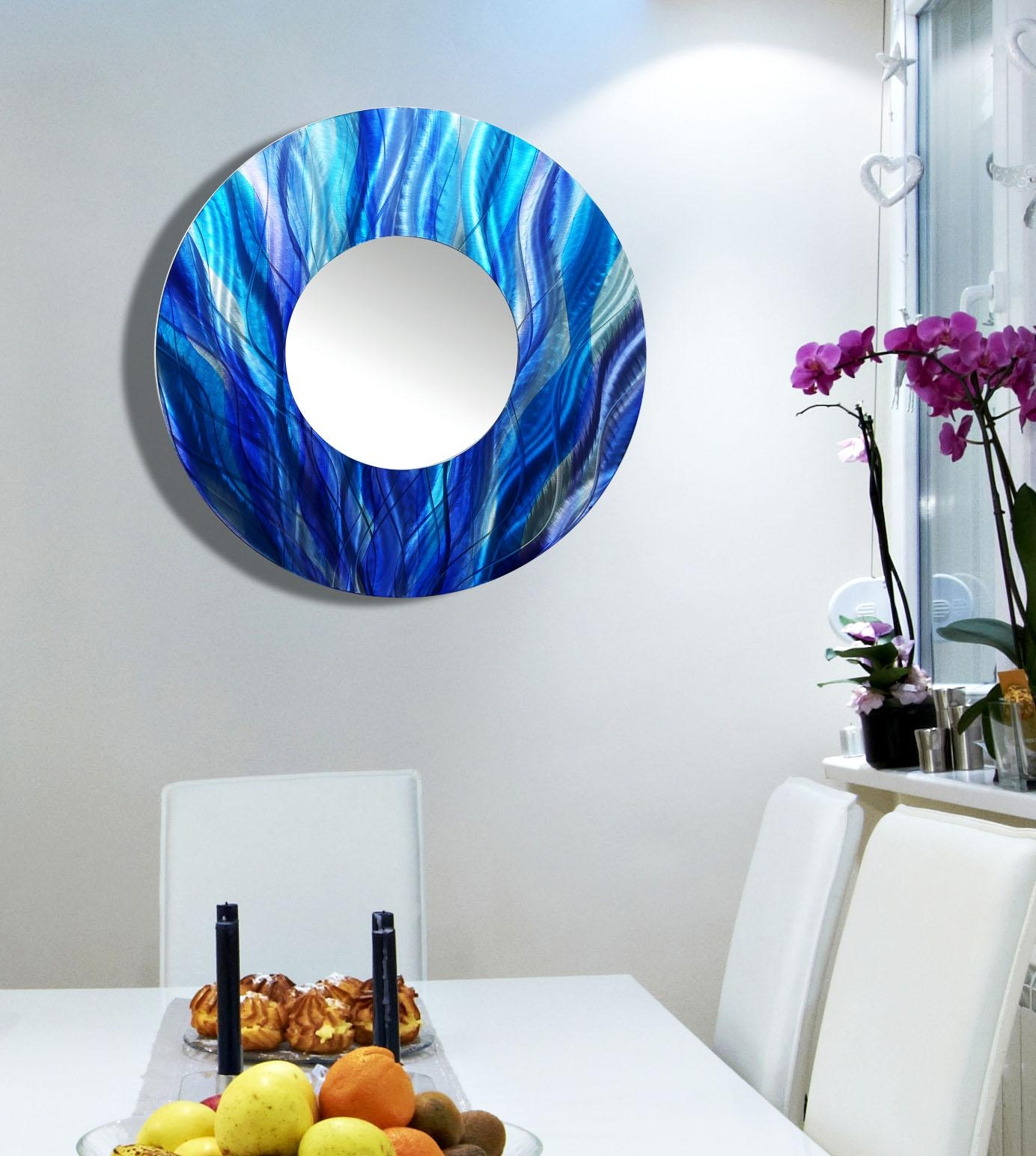 Mirror 113 – Aqua Blue, Teal & Purple Jewel Tone Fusion Hand With Wall Art Mirrors Contemporary (View 14 of 20)