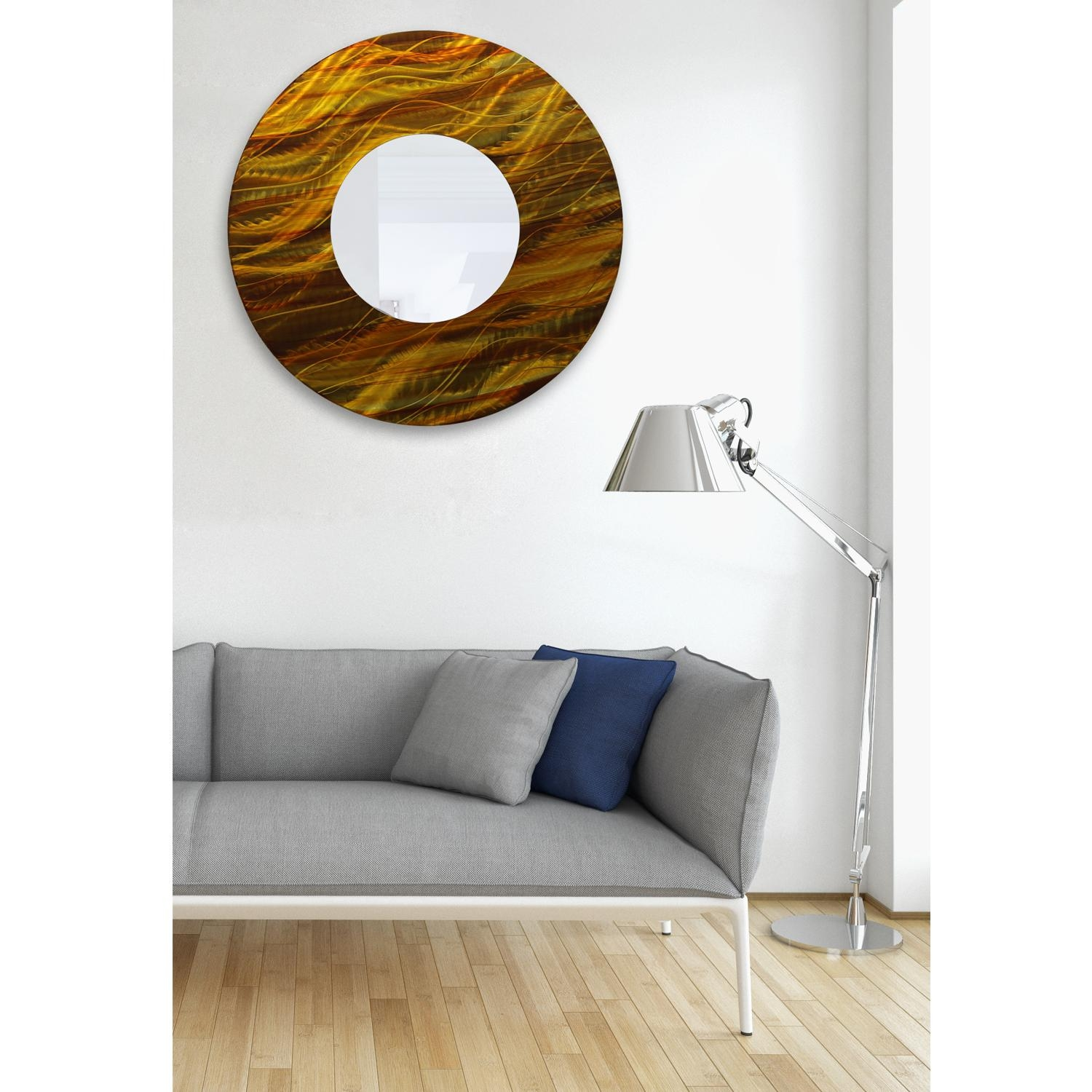 Mirror 115 – Gold And Amber Abstract Metal Wall Art Mirror Accent In Abstract Mirror Wall Art (Image 11 of 20)