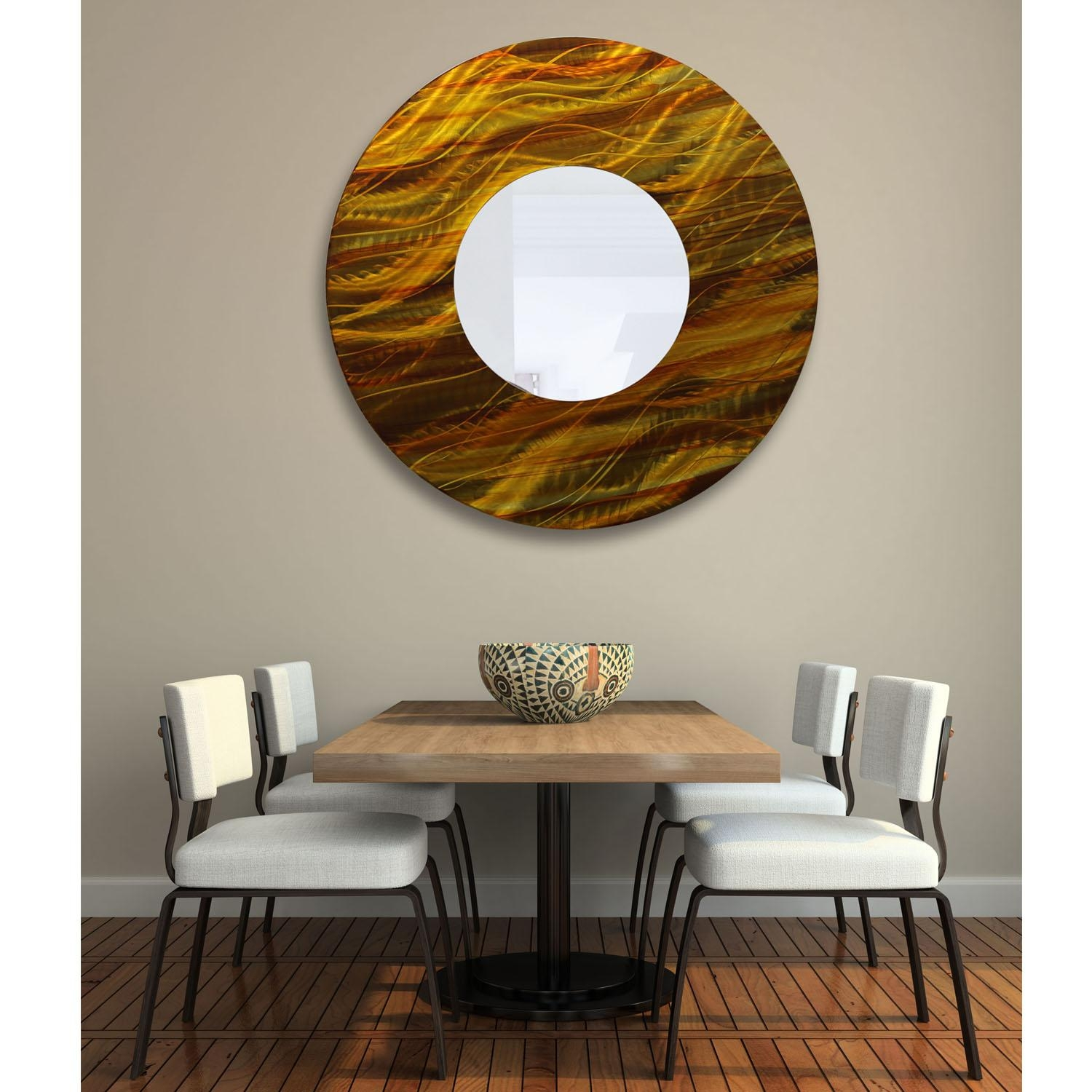 Mirror 115 – Gold And Amber Abstract Metal Wall Art Mirror Accent Pertaining To Abstract Mirror Wall Art (Image 12 of 20)