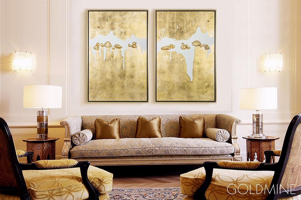 Mixed Media Wall Art | Abstract Oil Painting – Goldmine In Media Room Wall Art (Image 17 of 20)