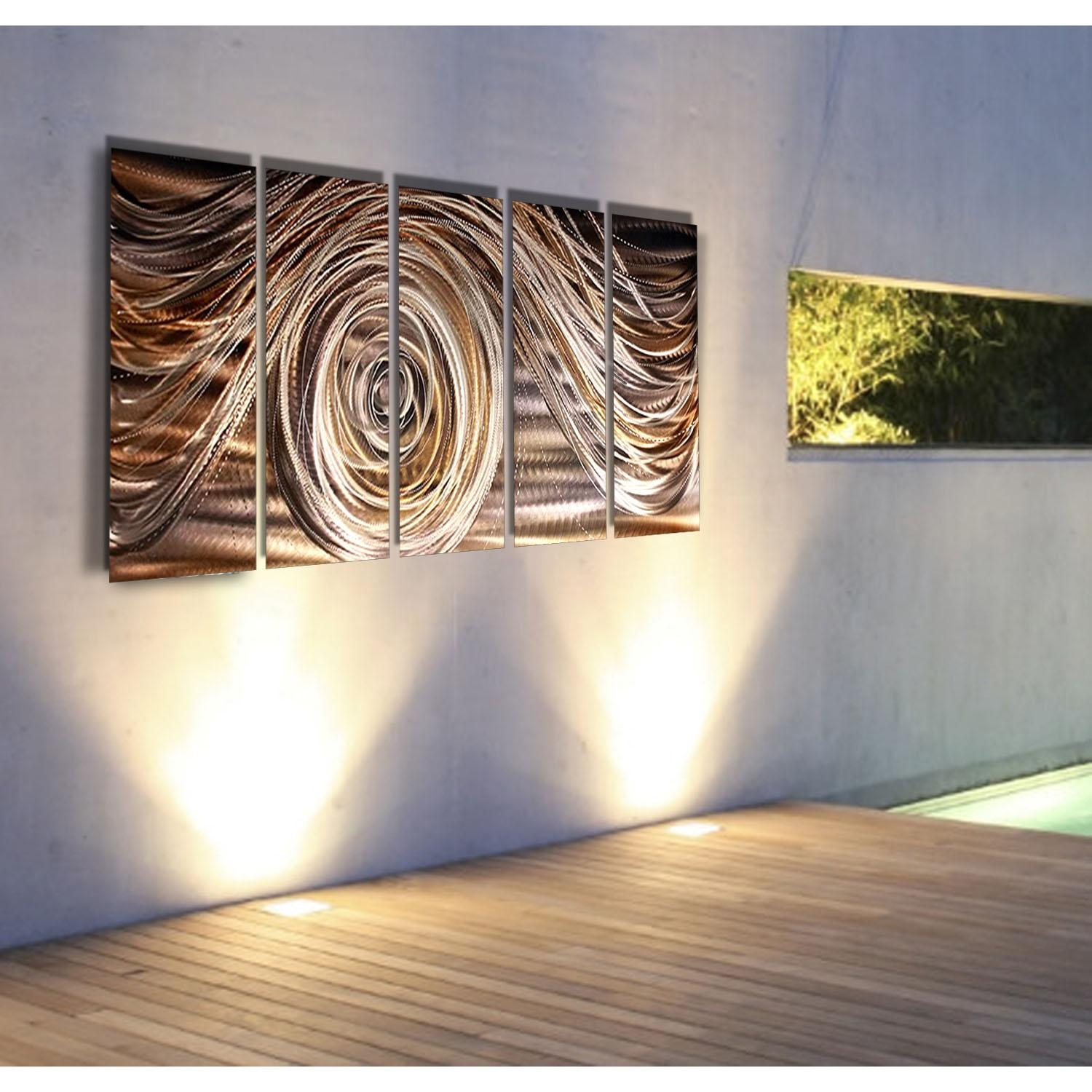 Mocha Swirl – Charcoal, Brown, Gold, And Silver Metal Wall Art – 5 Within Silver And Gold Wall Art (View 5 of 20)