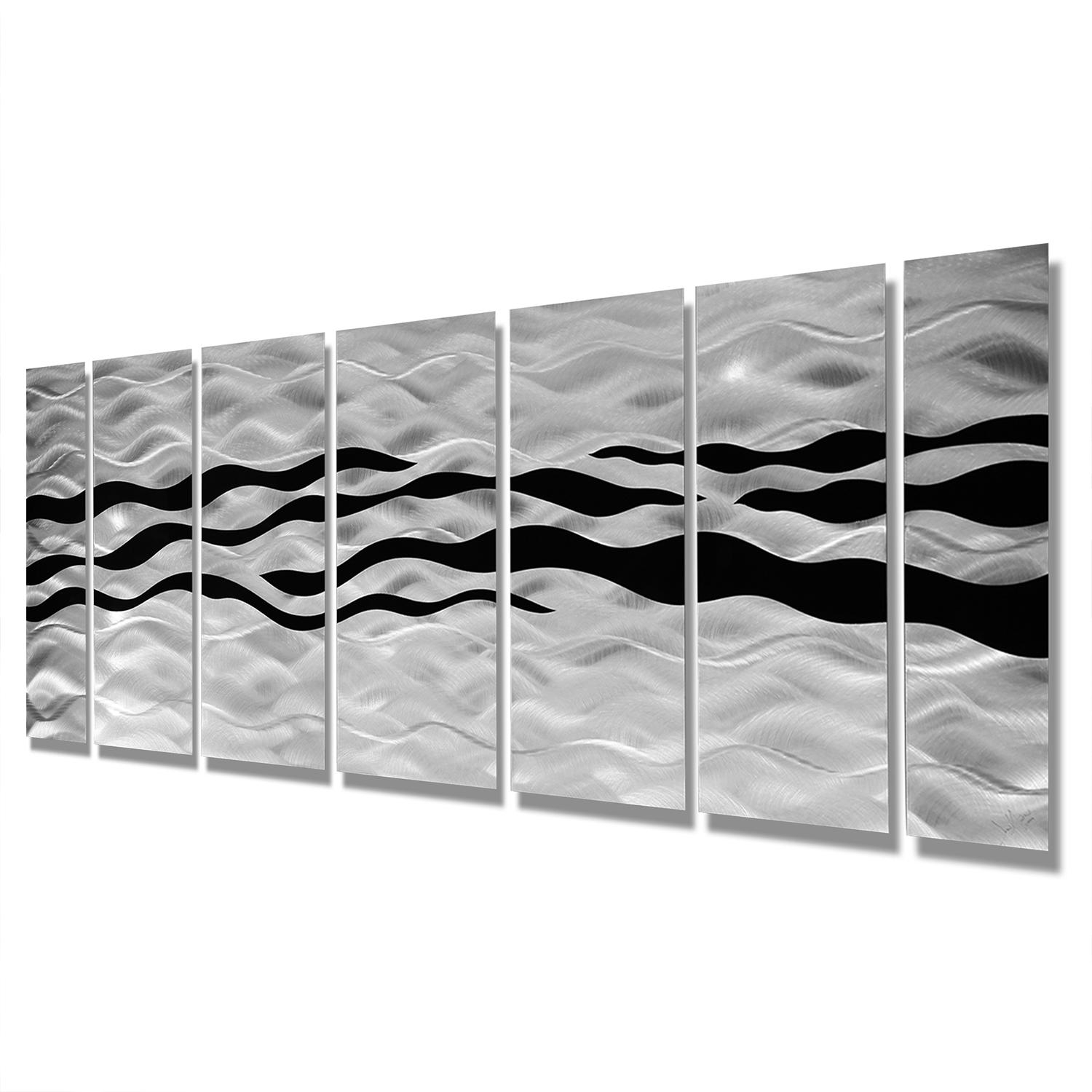 Modern Abstract Black/silver Contemporary Metal Wall Art Home Pertaining To  Black Silver Wall Art