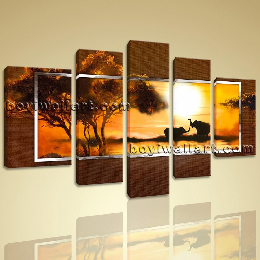 Modern Abstract Hd Canvas Wall Art Print Sunset Landscape Elephant With Regard To Huge Wall Art (View 14 of 20)