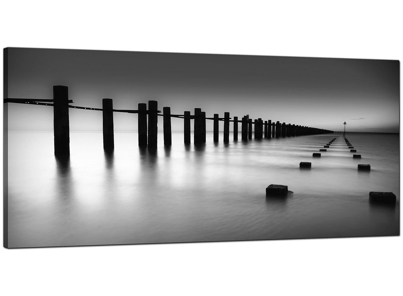 Modern Black And White Canvas Art Of The Sea With Regard To Large Black And White Wall Art (Image 14 of 20)