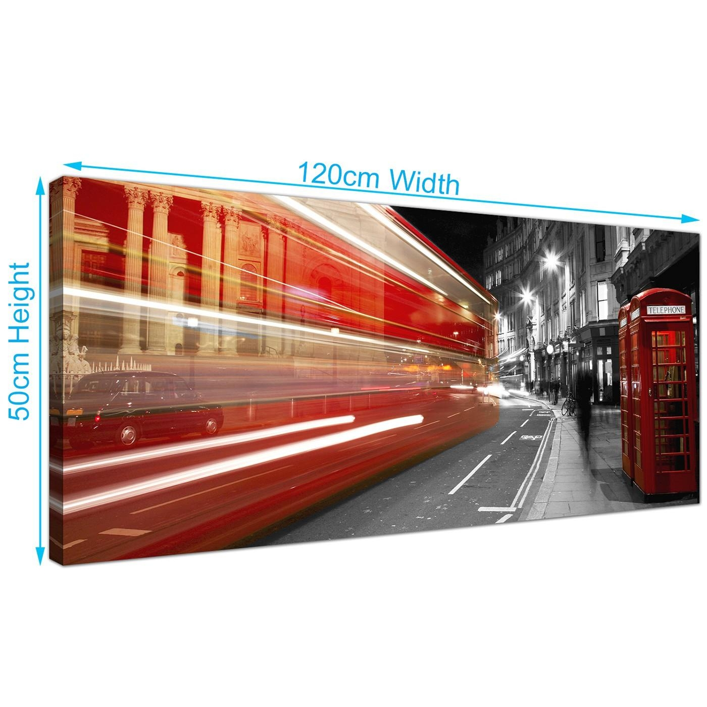 Modern Black And White Canvas Wall Art Of A Red London City Night Bus Pertaining To London Scene Wall Art (Image 10 of 20)