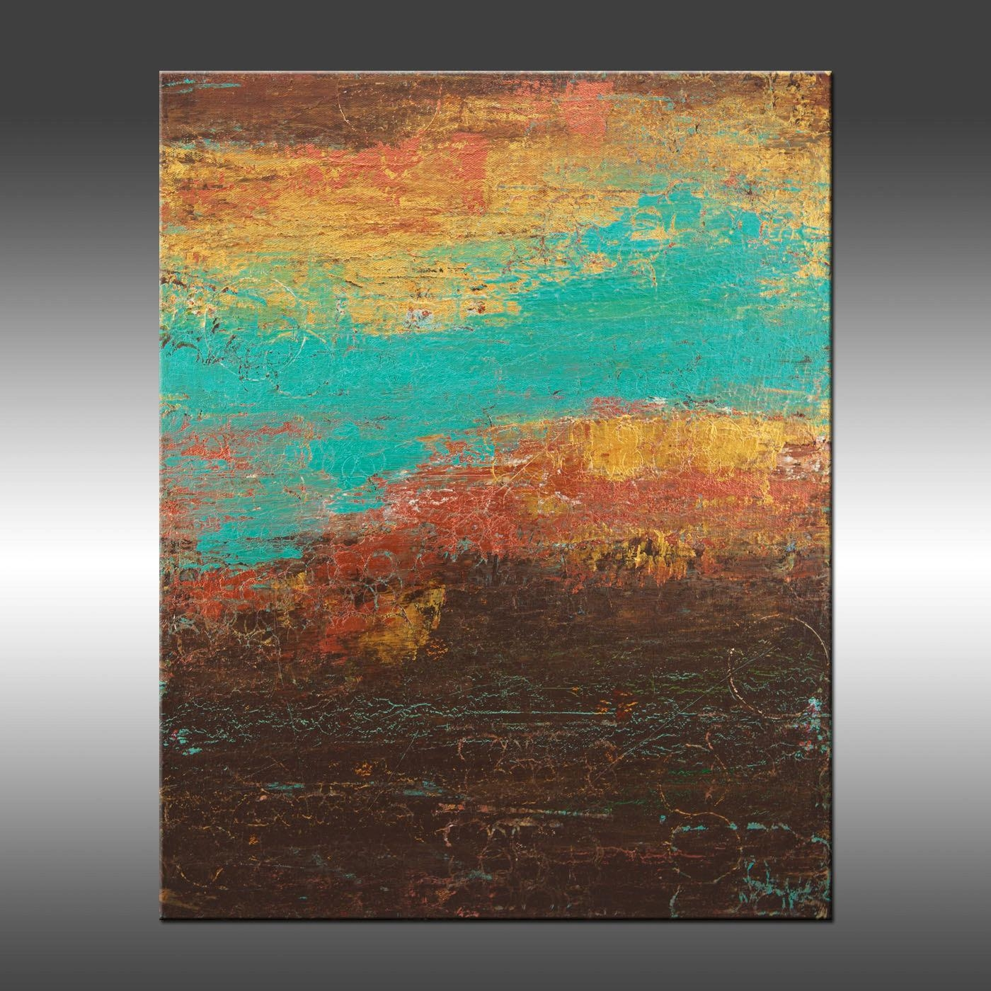 Modern Industrial 4 Art Painting Original Abstract With Turquoise And Brown Wall Art (Image 11 of 20)