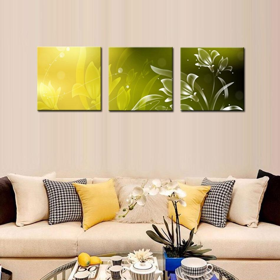 Modern Kitchen Canvas Paintings Charming Beautiful Flower Theme Pertaining To 3 Piece Modern Wall Art (View 10 of 20)
