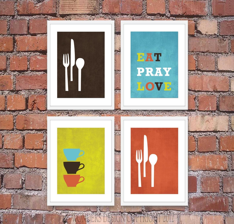 Modern Kitchen Wall Art Print Set Inspirational Eat Pray Pertaining To Kitchen Wall Art Sets (Image 9 of 20)