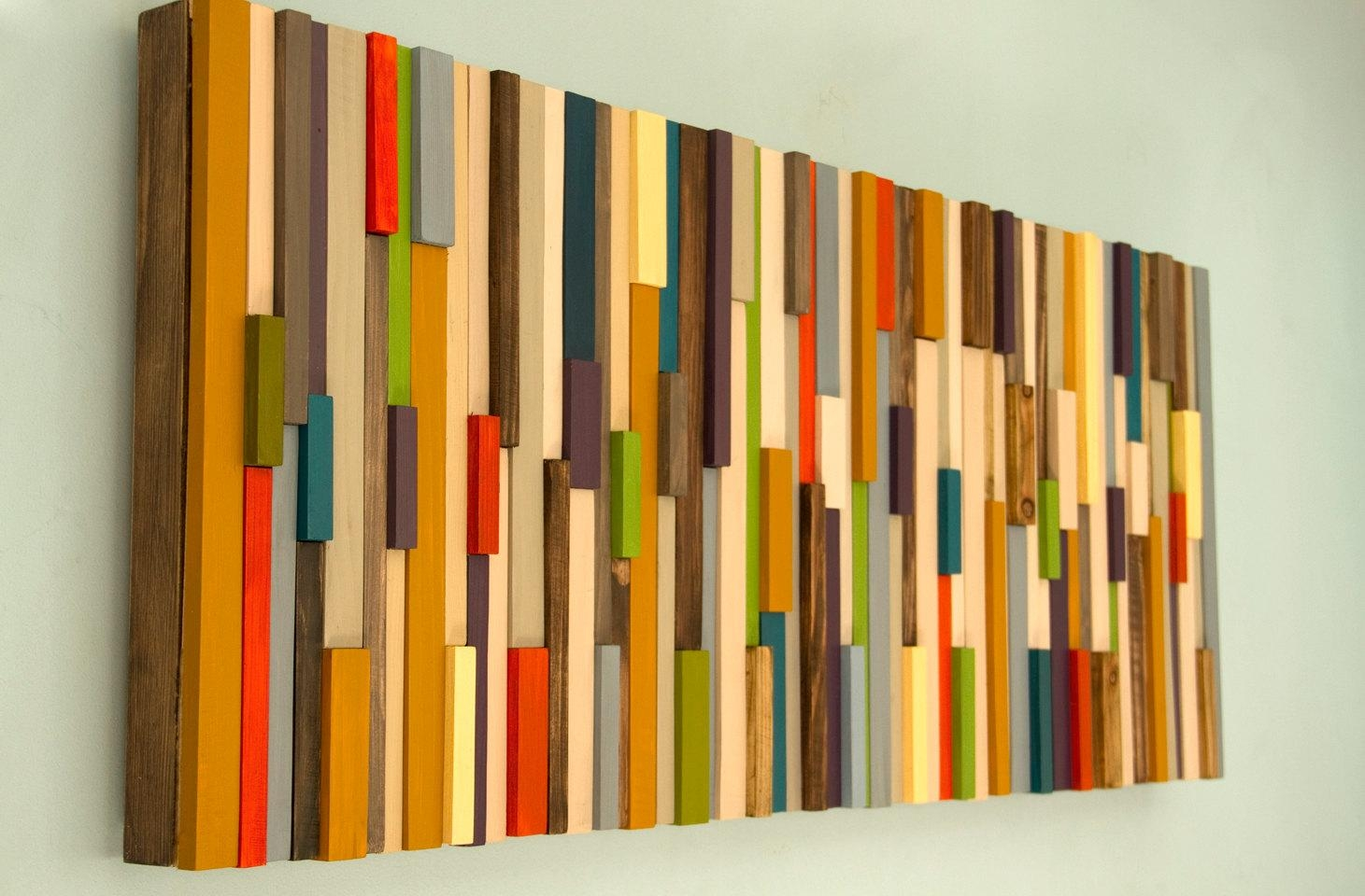 Modern Large Wall Art Reclaimed Wood Art Sculpture Painted Inside Large Yellow Wall Art (Image 13 of 20)