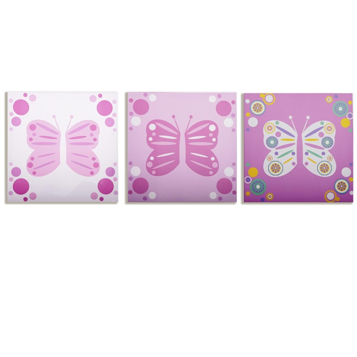 Modern Littles – Rose Butterfly – Canvas Wall Art – 3 Pc (Image 16 of 20)