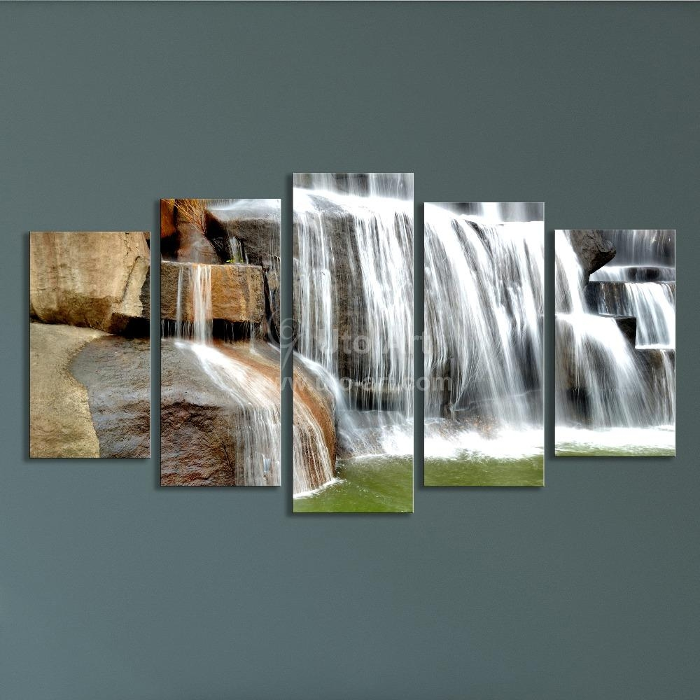 Modern Multiple Panel Wall Art Painting Waterfall Picture 5 Panels Within Multiple Panel Wall Art (View 17 of 20)
