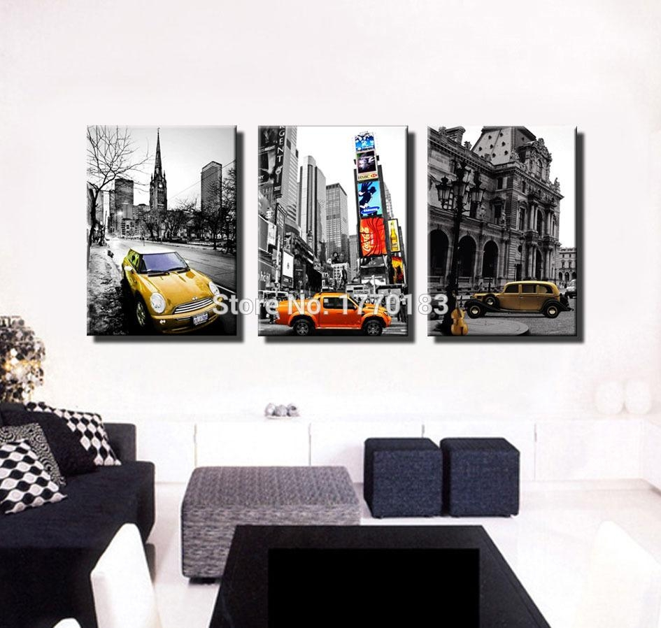 Modern Photo Prints Black And White Canvas Picture Classic Cars In Black And White New York Canvas Wall Art (Image 10 of 20)