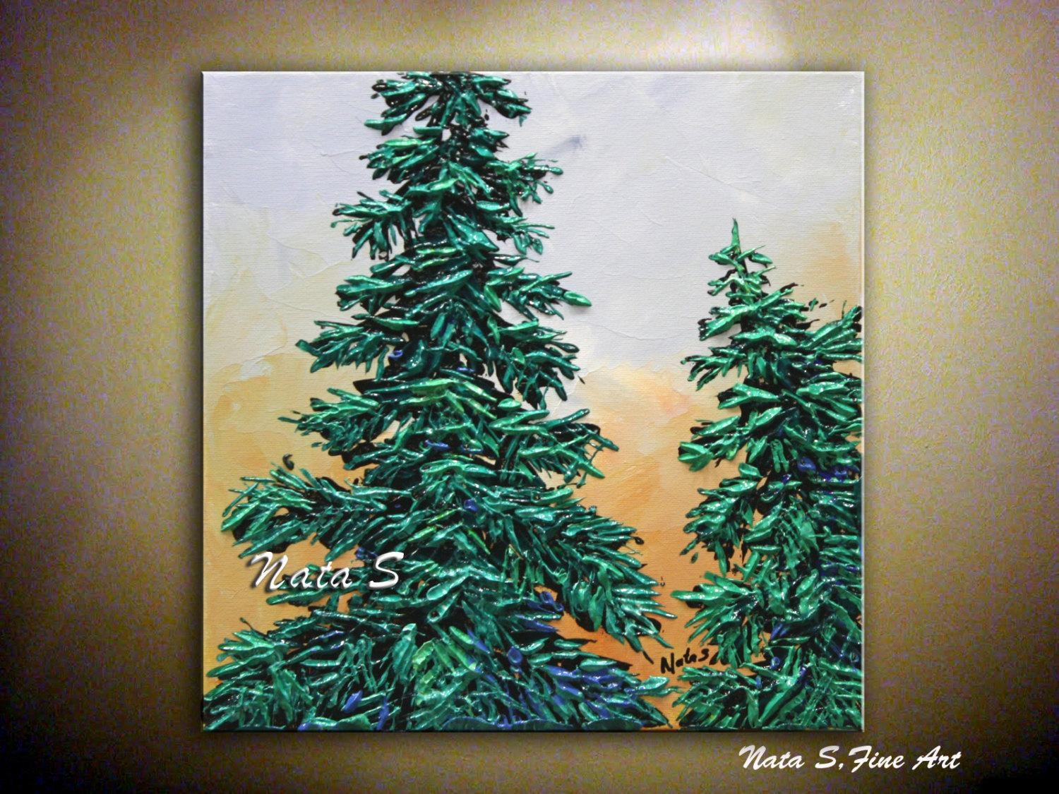 Modern Pine Tree Painting Abstract Contemporary Artwork With Pine Tree Wall Art (Image 4 of 20)