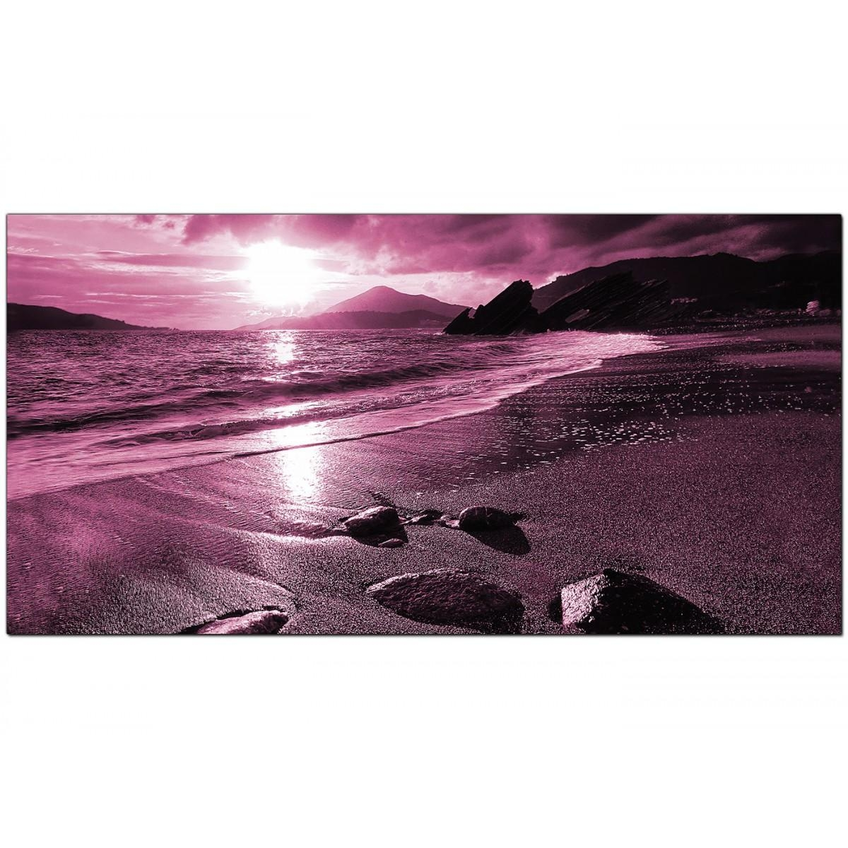 Modern Plum Canvas Art Of A Beach Sunset Inside Plum Coloured Wall Art (Image 13 of 20)