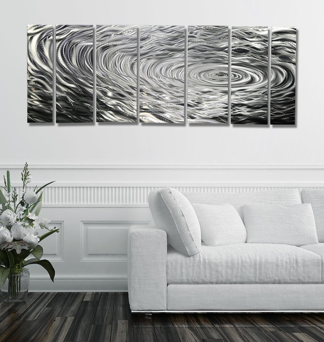 Modern Silver Abstract Metal Wall Art Home Decor – Ripple Effect Within Black Silver Wall Art (Image 12 of 20)
