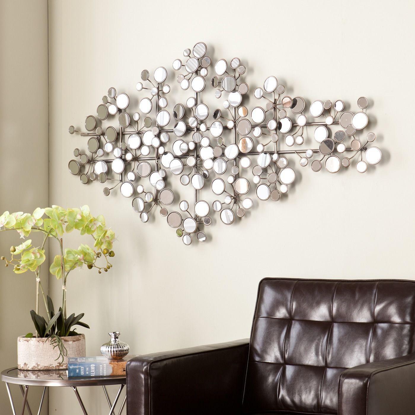 Modern Silver Mirror Circle Metal Wall Sculpture Art Modern For Modern Mirrored Wall Art (Image 11 of 20)