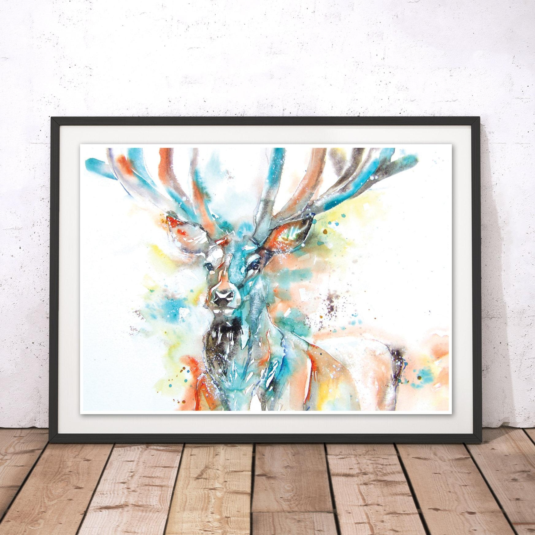 Monarch Of The Glen Stag Print Stag Wall Art Deer Painting With Stag Wall Art (Image 15 of 20)