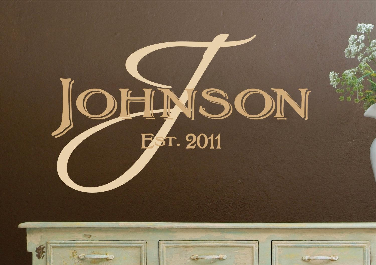 Monogram Wall Decals Personalized Family Name Vinyl Wall With Last Name Wall Art (Image 12 of 20)
