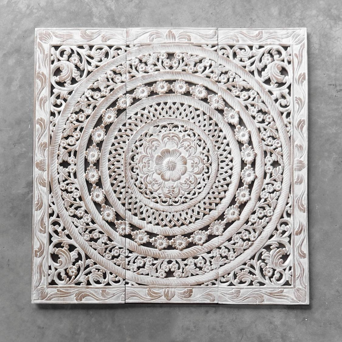 Moroccan Decent Wood Carving Wall Art Hanging – Siam Sawadee With Wood Panel Wall Art (Image 8 of 20)