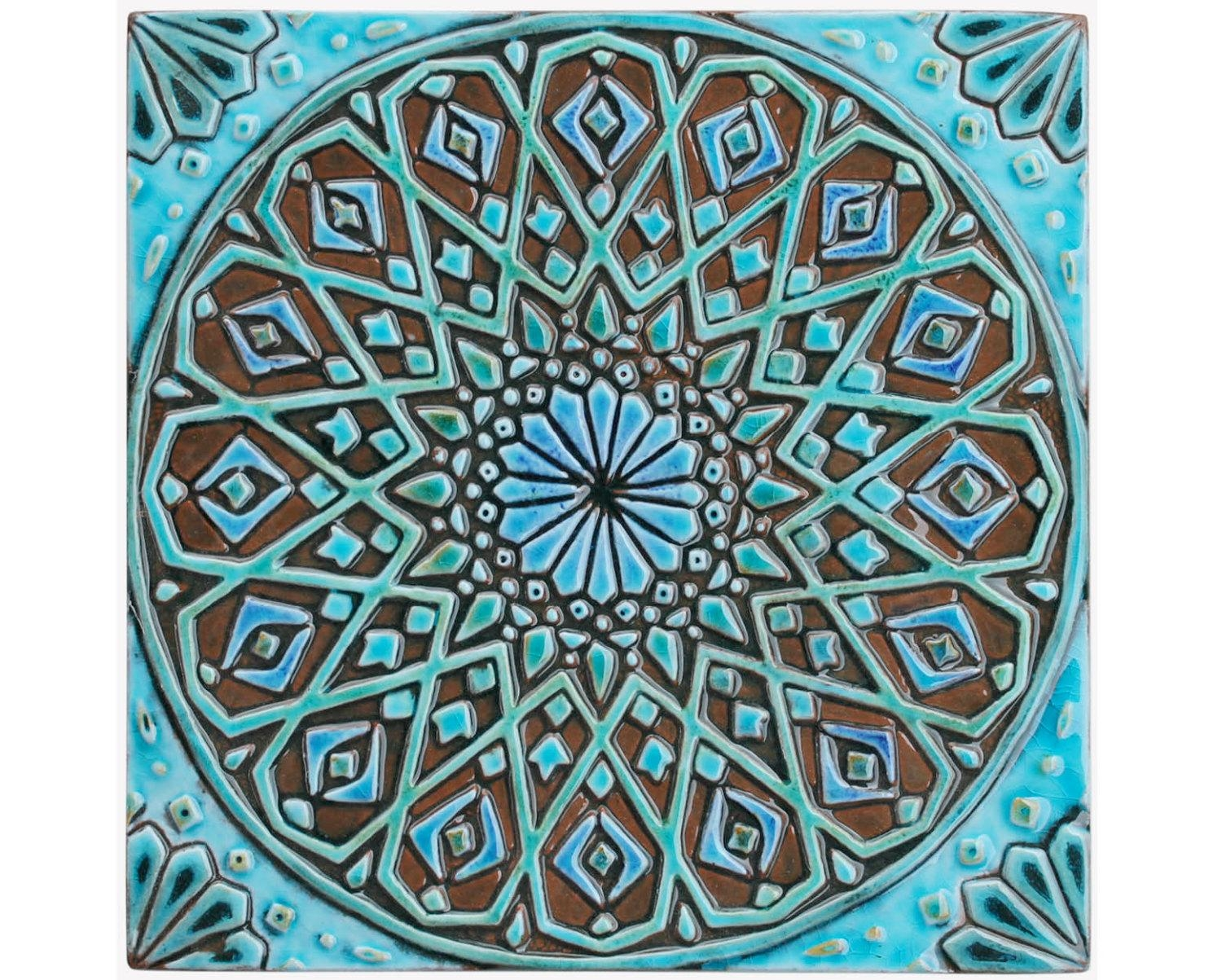 Moroccan Wall Hanging Made From Ceramic Exterior Wall Art Throughout Ceramic Tile Wall Art (Image 18 of 20)
