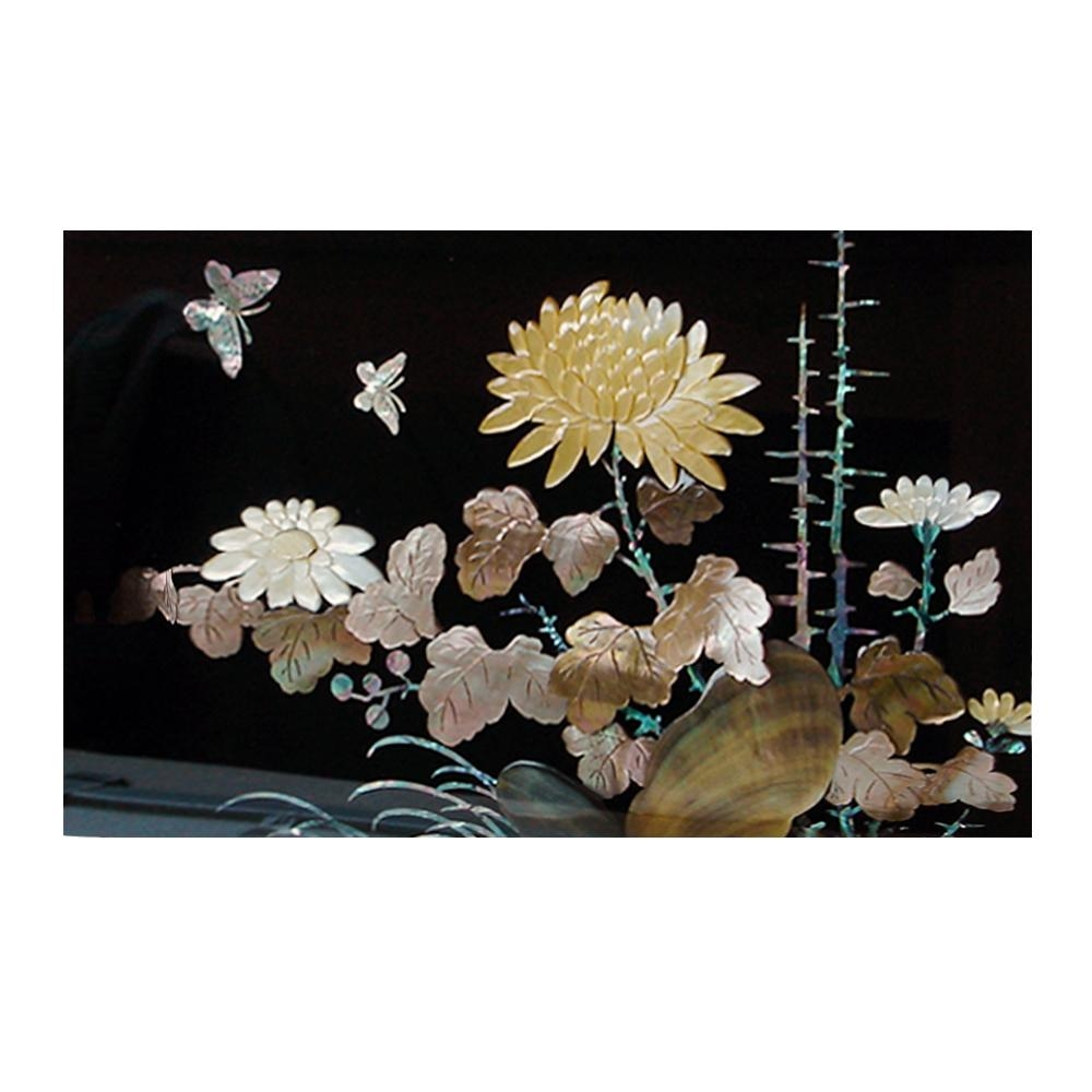 Mother Of Pearl Wall Art Decor Chrysanthemum Flower Carving In In Mother Of Pearl Wall Art (View 5 of 20)