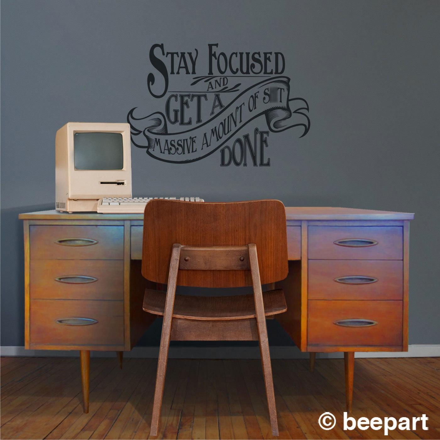 Motivational Quote Wall Decal, Office Vinyl Sticker Art  Warning In Art Nouveau Wall Decals (Image 13 of 20)