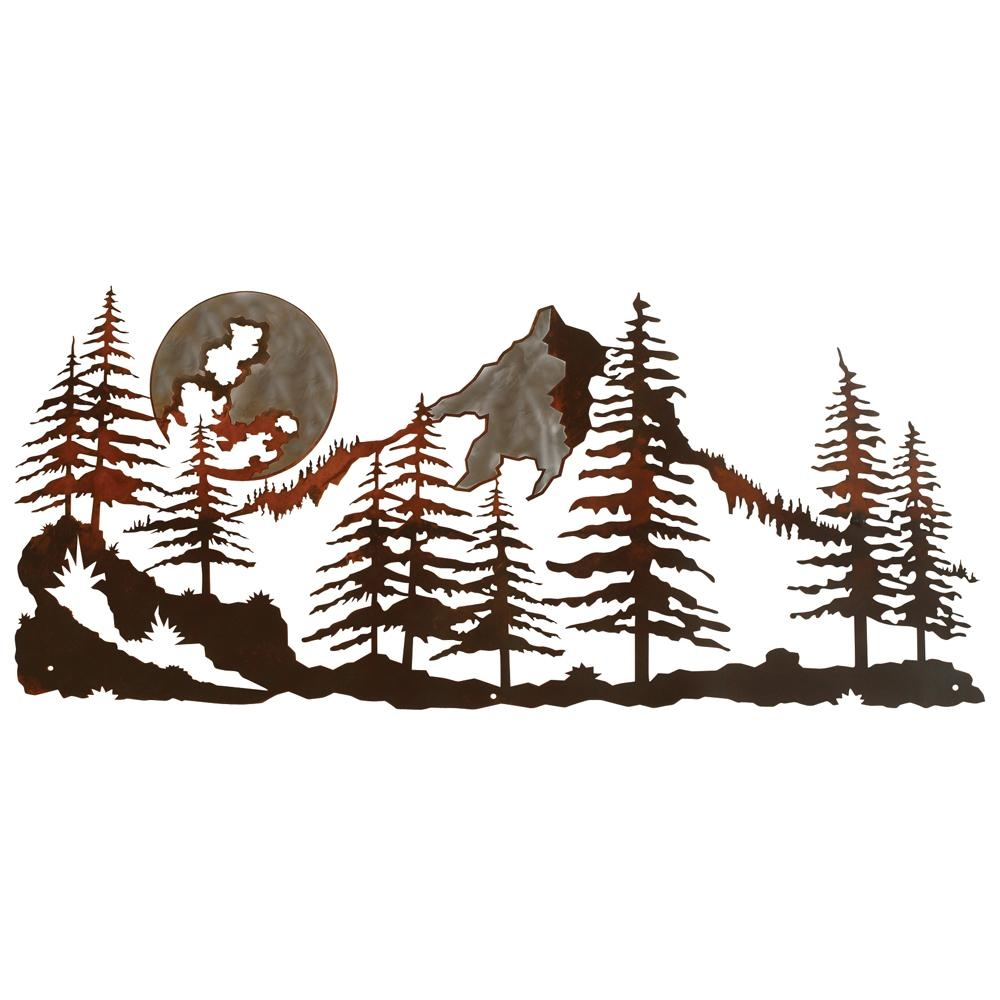 Mountain Scene Burnished Metal Wall Art Intended For Pine Tree Metal Wall Art (Image 6 of 20)