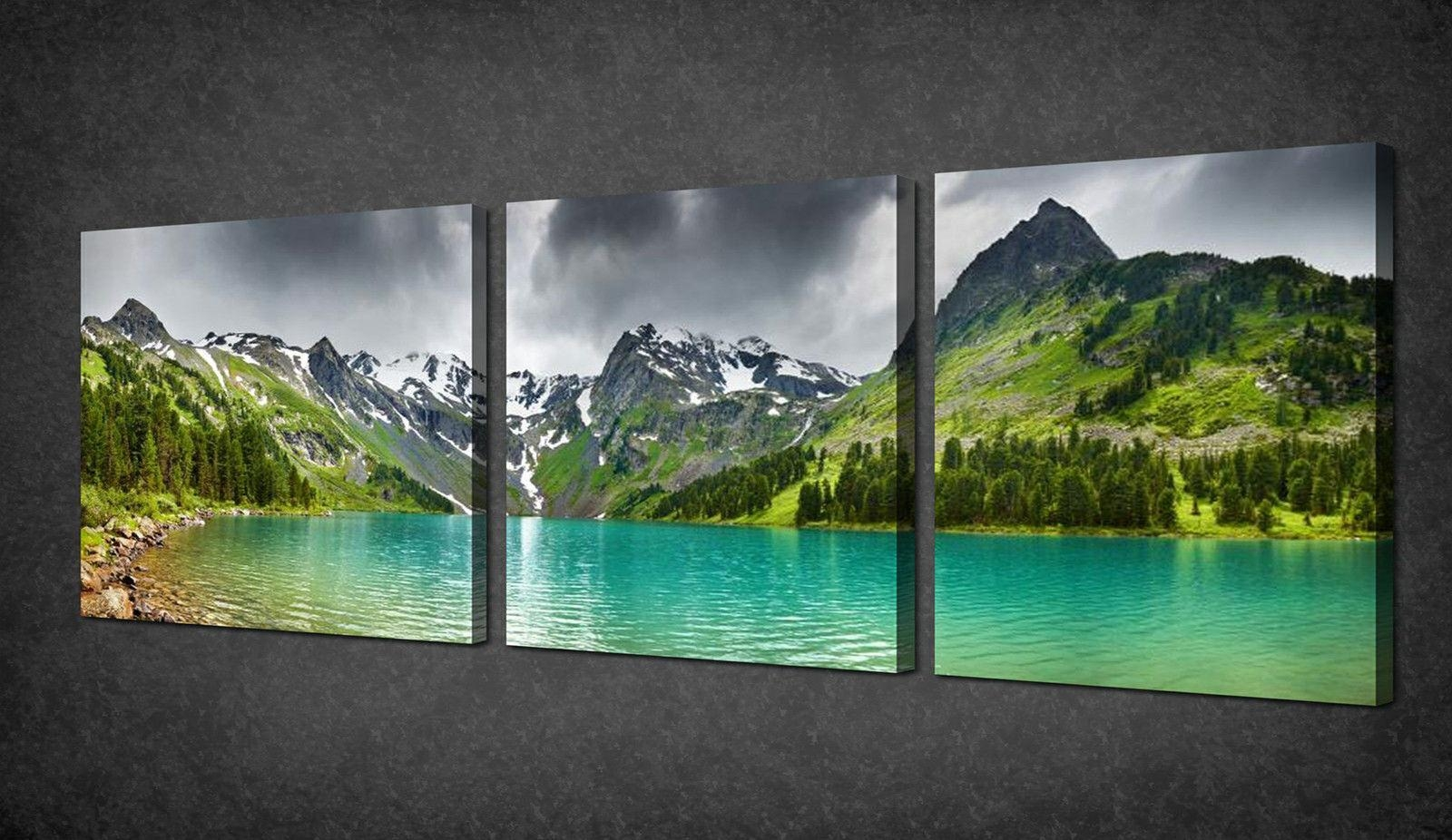 Mountains Green Lake Panorama 3 Panels Canvas Print Picture Wall Throughout Green Canvas Wall Art (Image 16 of 20)