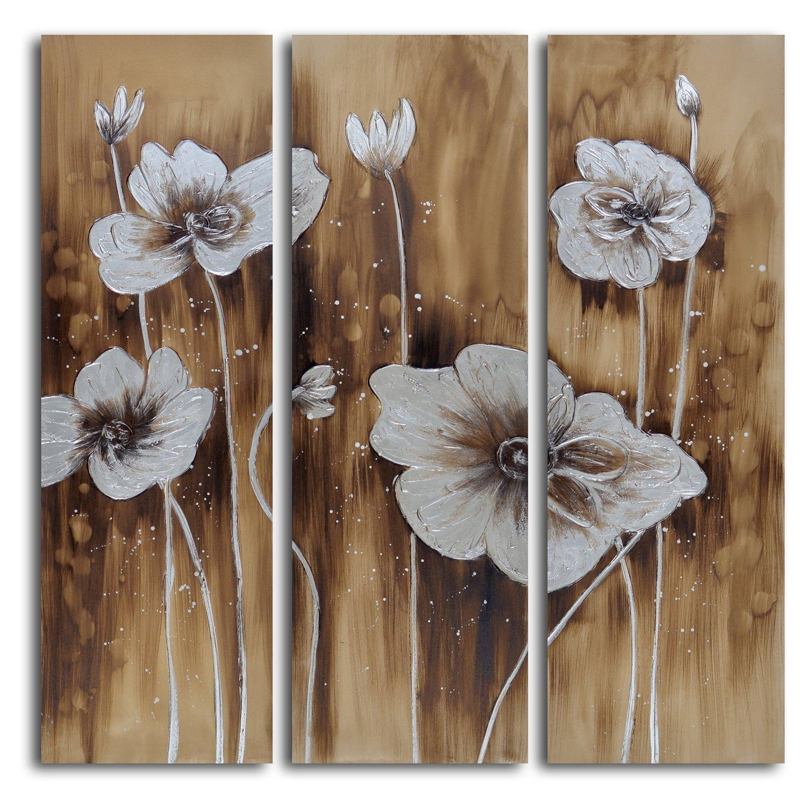 Muddied Floral March 3 Piece Canvas Wall Art Set | Hayneedle For 3 Piece Floral Canvas Wall Art (View 17 of 20)