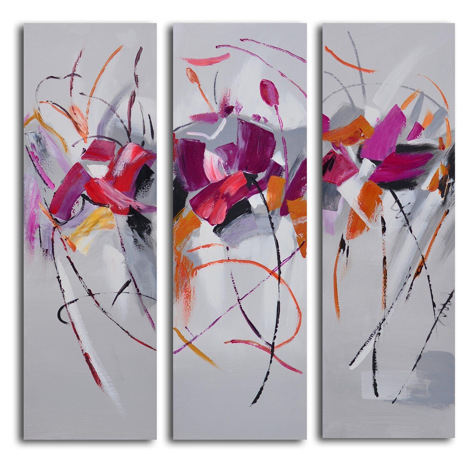 Muddied Floral March 3 Piece Canvas Wall Art Set | Hayneedle Regarding 3 Piece Wall Art (Image 14 of 20)
