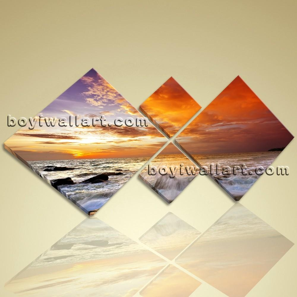 Multiple Pieces Contemporary Landscape Sunset Glow Wall Art Prints regarding Wall Art Multiple Pieces