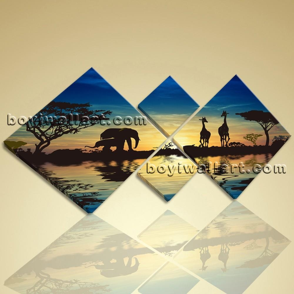 Multiple Pieces Wall Art Print On Canvas Blue Landscape Africa Sunset Pertaining To Wall Art Multiple Pieces (Image 14 of 20)
