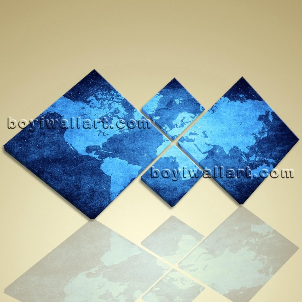 Multiple Pieces Wall Art Print On Canvas Blue Map Of World Within Wall Art Multiple Pieces (View 9 of 20)