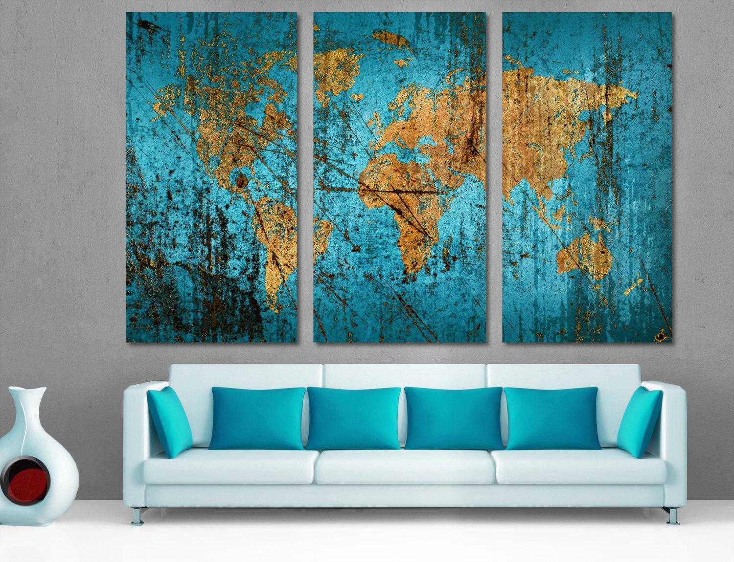 Munsell Blue Abstract World Map Canvas Print Wall Art Multi Intended For Map Wall Art (Image 15 of 20)