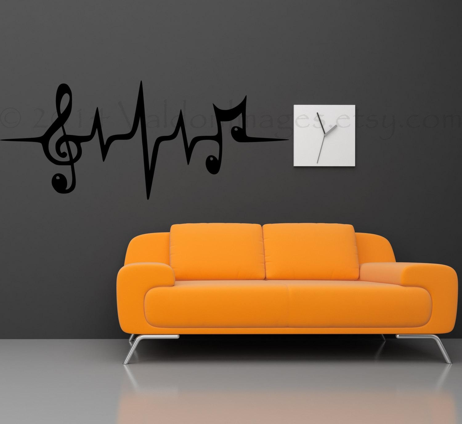 Music Note Wall Decal Music Wall Decal Heartbeat Wall Intended For Music Note Art For Walls (View 3 of 20)