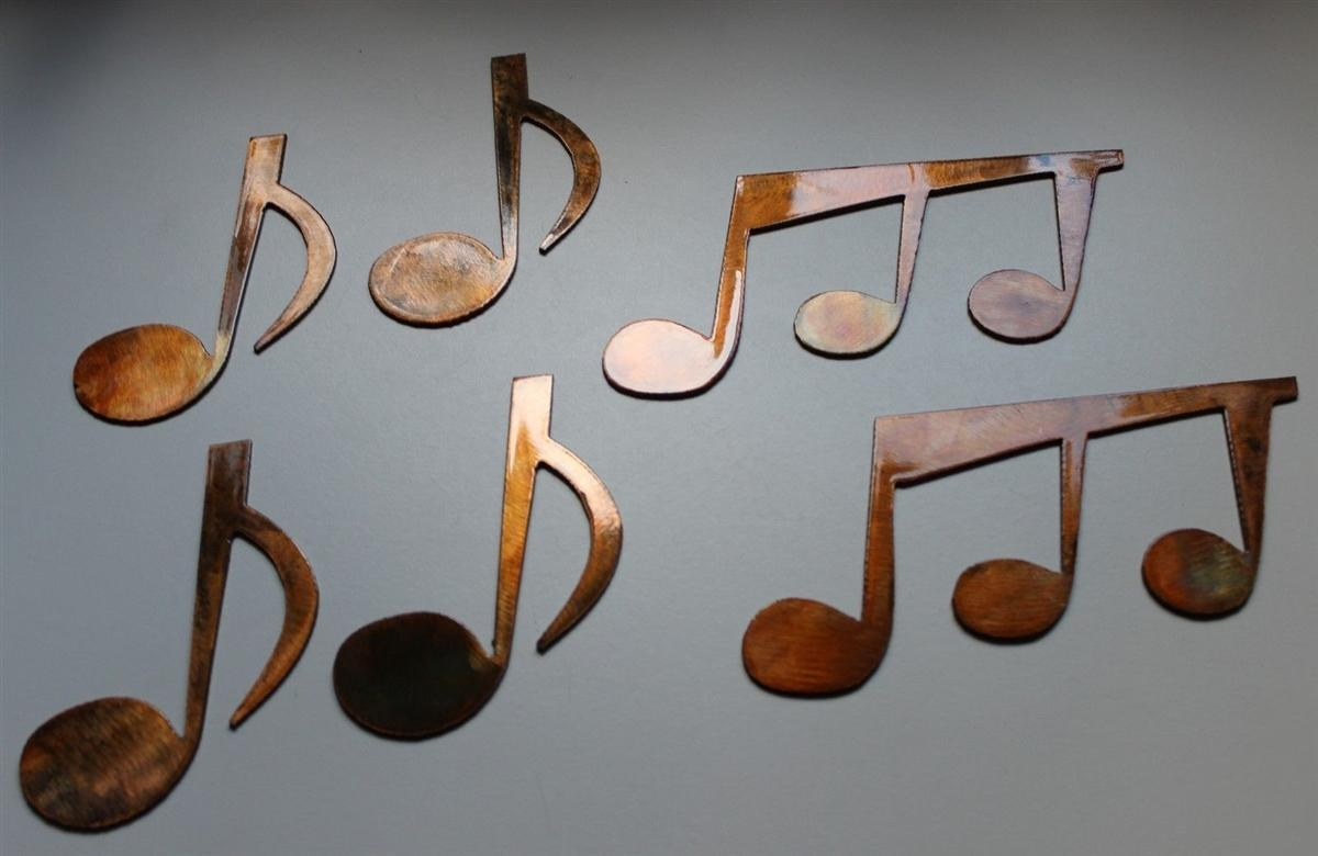 Music Notes Set Of 6 Metal Wall Art Copper/bronze Plated In Music Note Wall Art (Image 8 of 20)