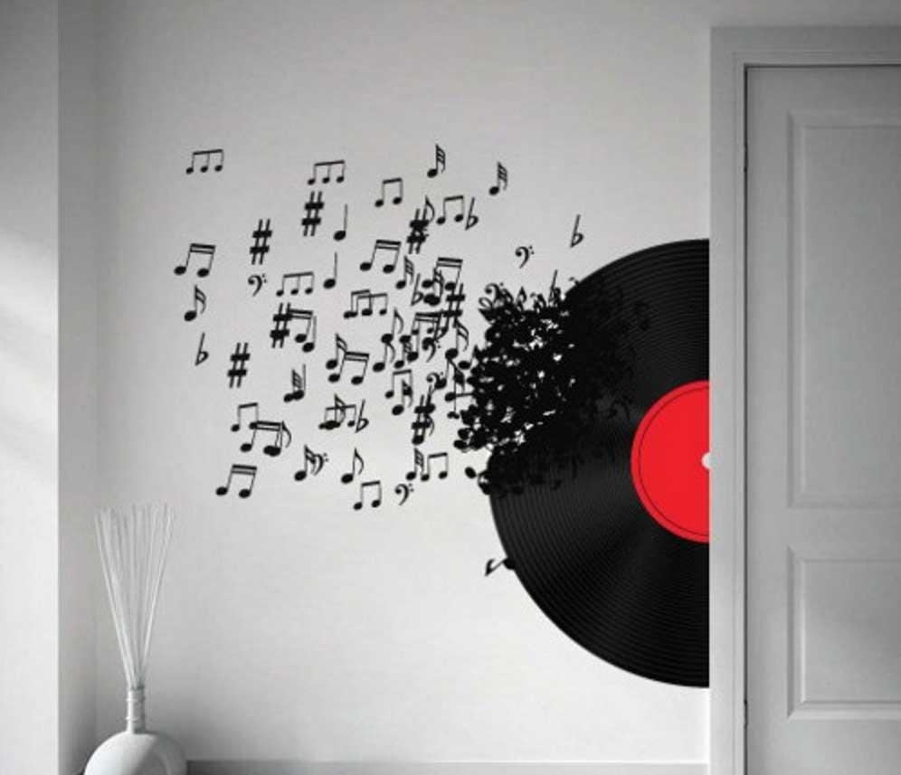 Music Notes Wall Art Decals Vinyl Record Ideas | Home Interior With Music Note Art For Walls (View 19 of 20)