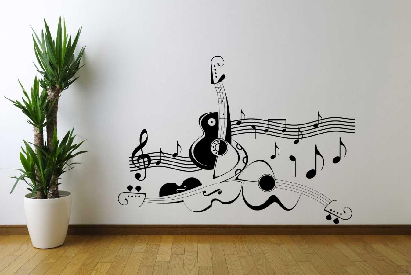 Music Themed Wall Art Guitar Music Note Symbol | Home Interior Intended For Music Theme Wall Art (Image 9 of 20)