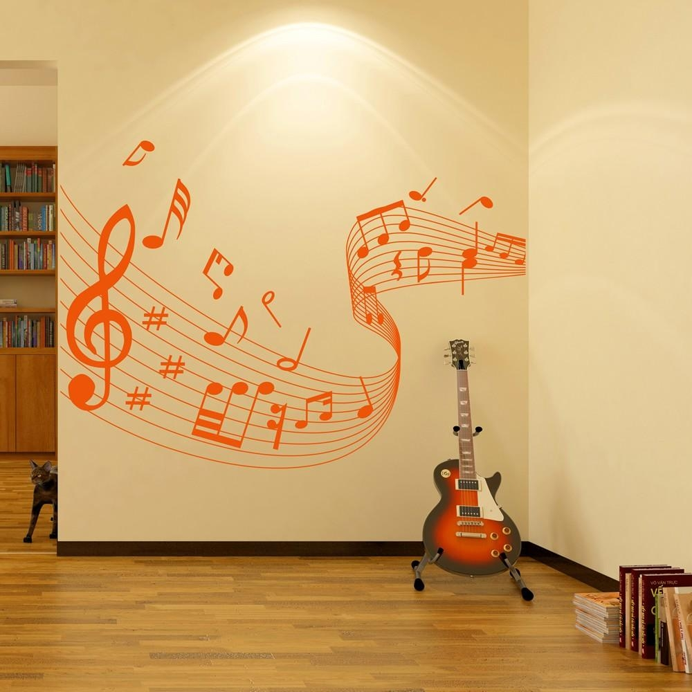 Musical Note Score Wall Stickers Music Wall Art Pertaining To Music Note Art For Walls (View 5 of 20)