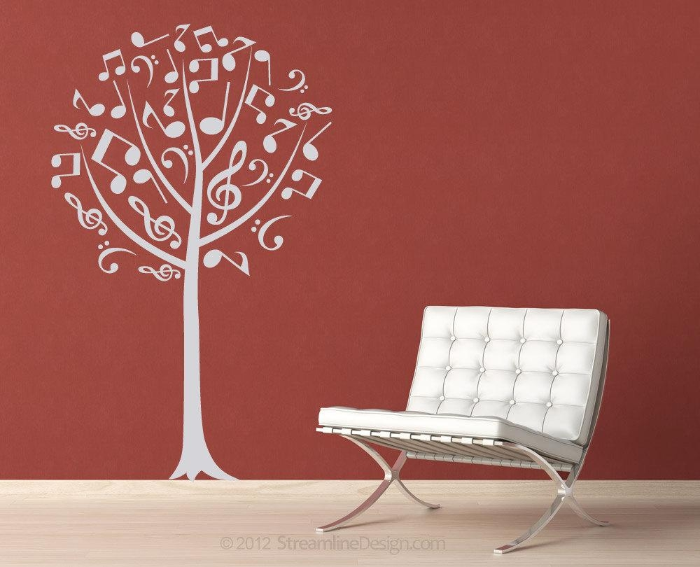 Musical Notes Tree Removable Vinyl Wall Art Music Notes Music With Music Note Wall Art (View 15 of 20)