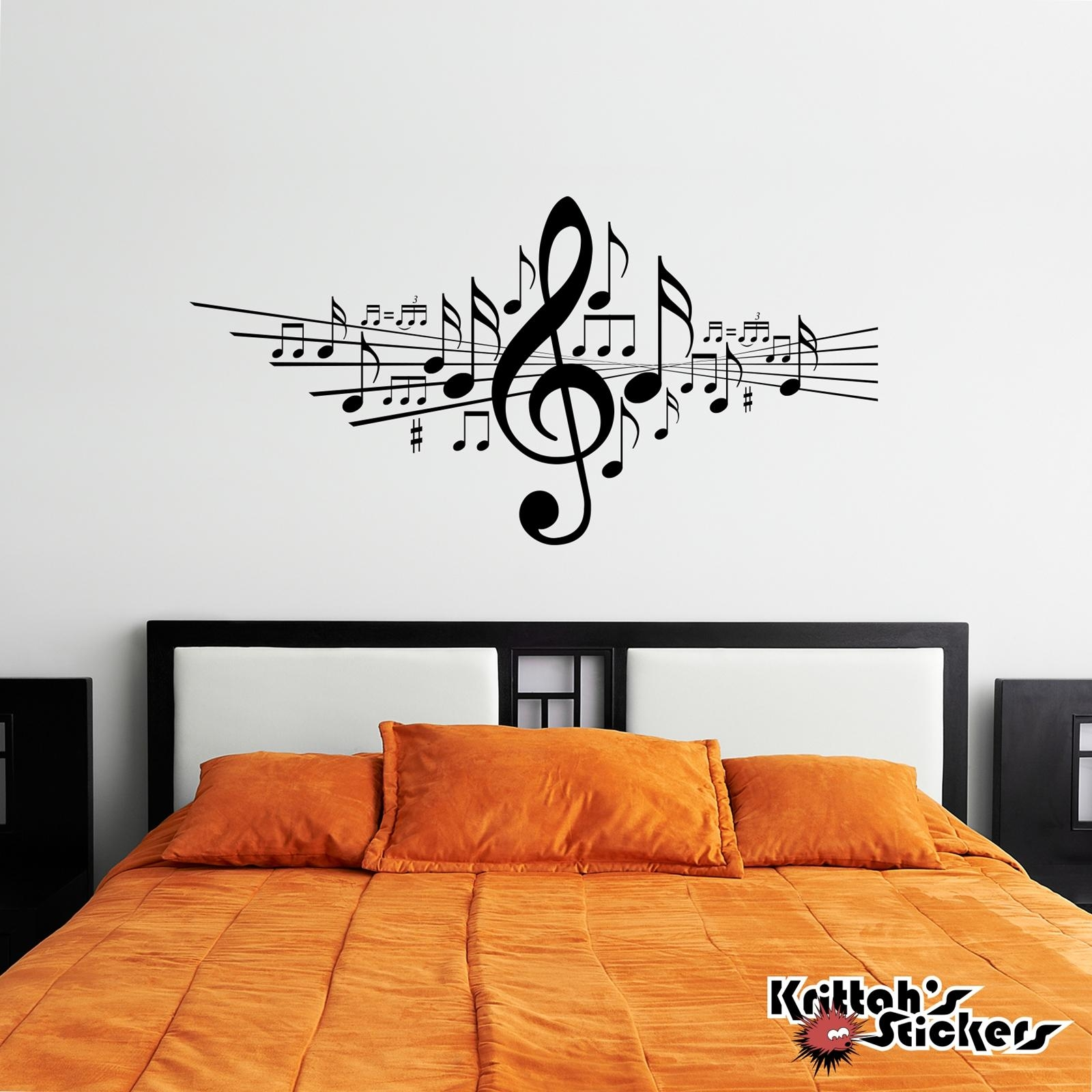 Musical Notes Vinyl Wall Decal In Music Note Wall Art (Image 12 of 20)