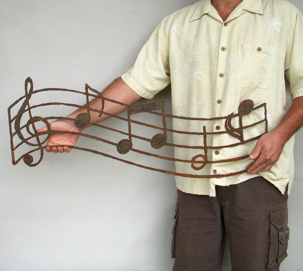 Musical Notes Wall Art Custom Order Steel Earth Tone Patina Inside Metal Music Notes Wall Art (Image 10 of 20)