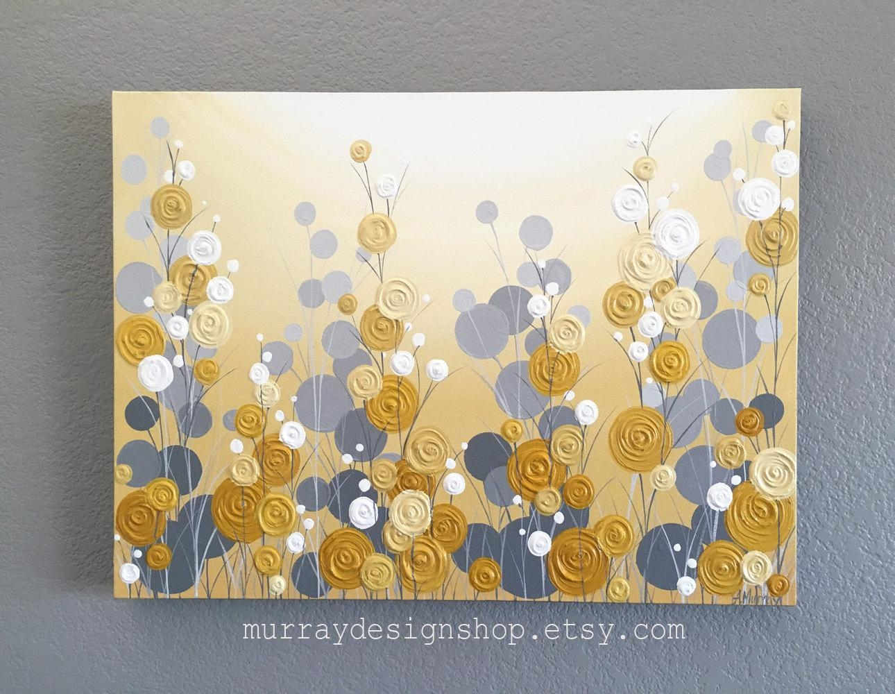 Mustard Yellow And Grey Wall Art Textured Painting Abstract Within Yellow Grey Wall Art (View 2 of 20)