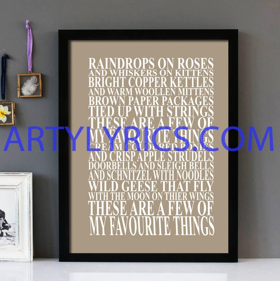 "My Favorite Things"" Sound Of Music – Framed Lyrics Wall Art Design Inside Music Lyrics Wall Art (View 15 of 20)"