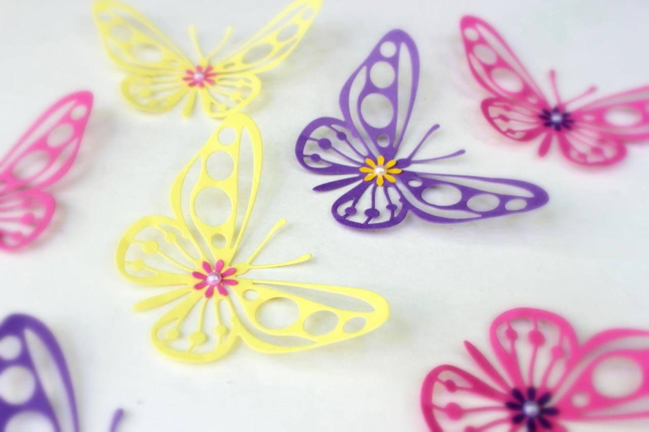 Mydreamdecors • Purple, Yellow, Pink, Butterflies, 3D Wall Art, For Pink Butterfly Wall Art (View 18 of 20)