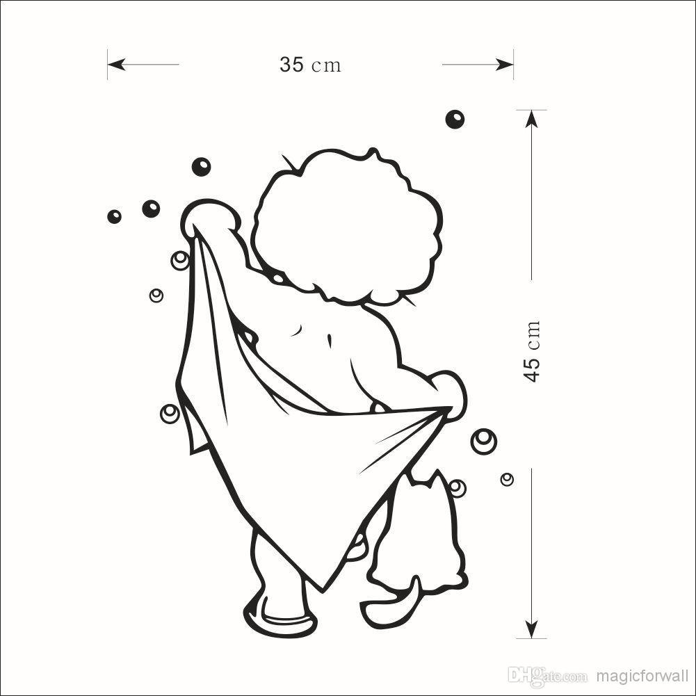 Naked Boy With Bath Towel Wall Art Mural Decor Bath Room Shower Regarding Shower Room Wall Art (View 19 of 20)