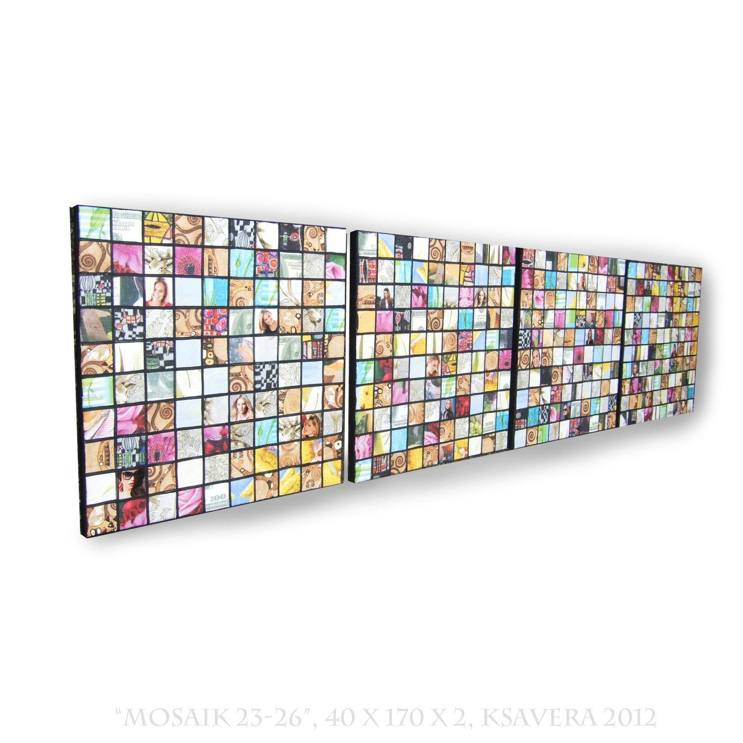 Napkins Decoupage Mosaic On Canvas Long Vertical Abstract Art pertaining to Decoupage Wall Art