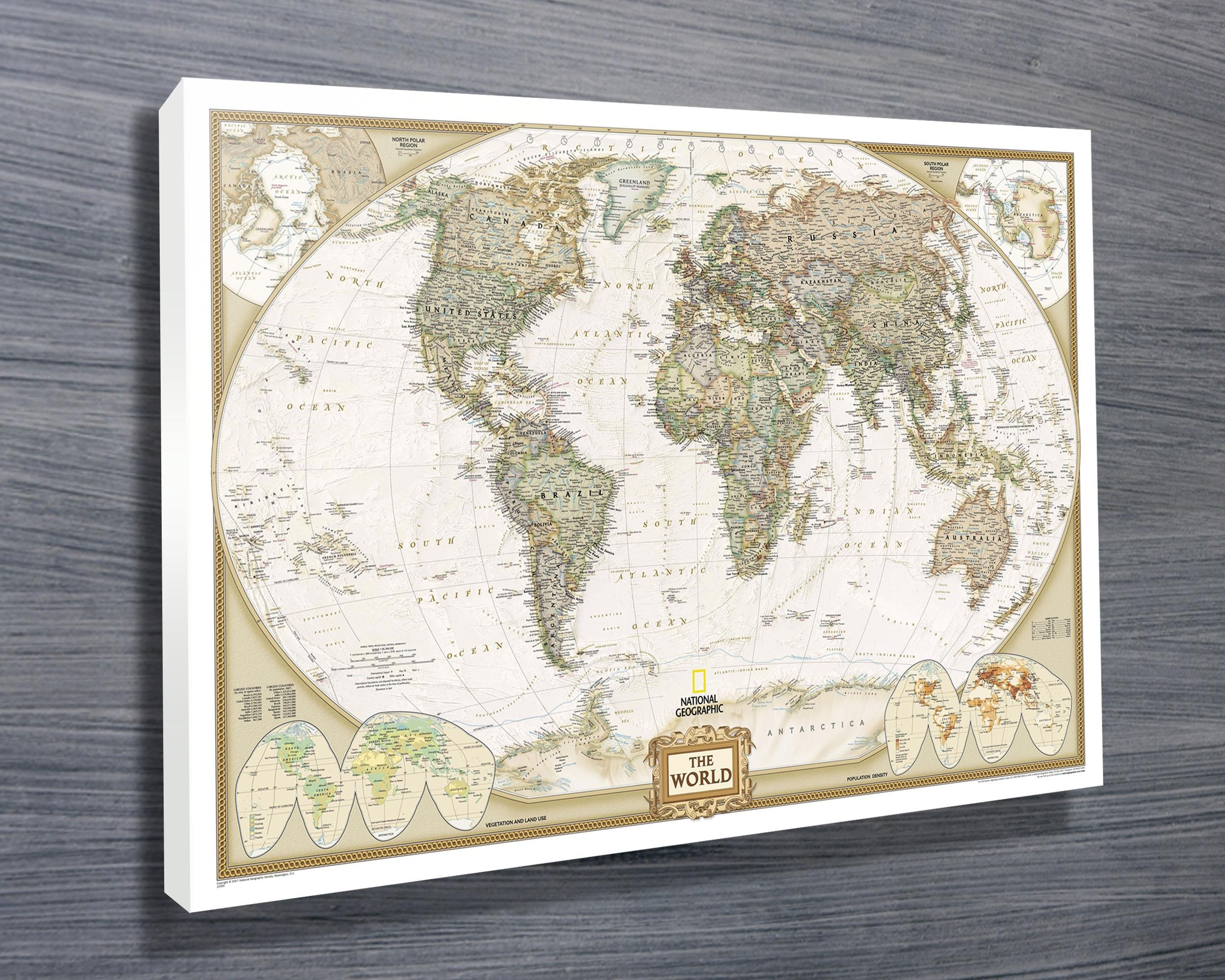 National Geographic Map – Canvas Prints Australia With Regard To Framed World Map Wall Art (Image 9 of 20)
