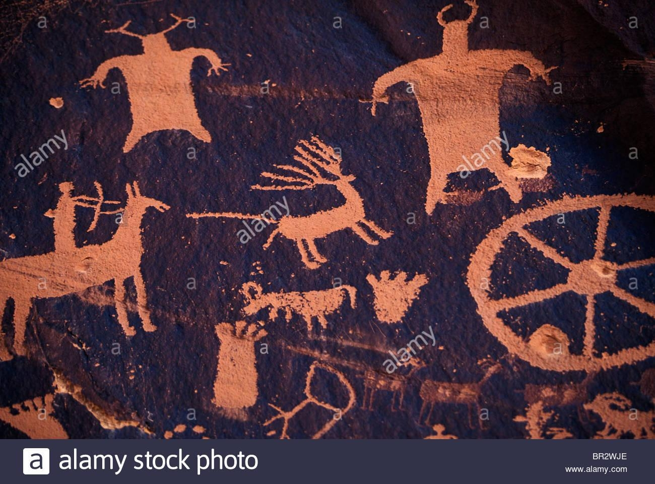Native American Cave Art/wall Drawings Stock Photo, Royalty Free Within Native American Wall Art (Image 14 of 20)