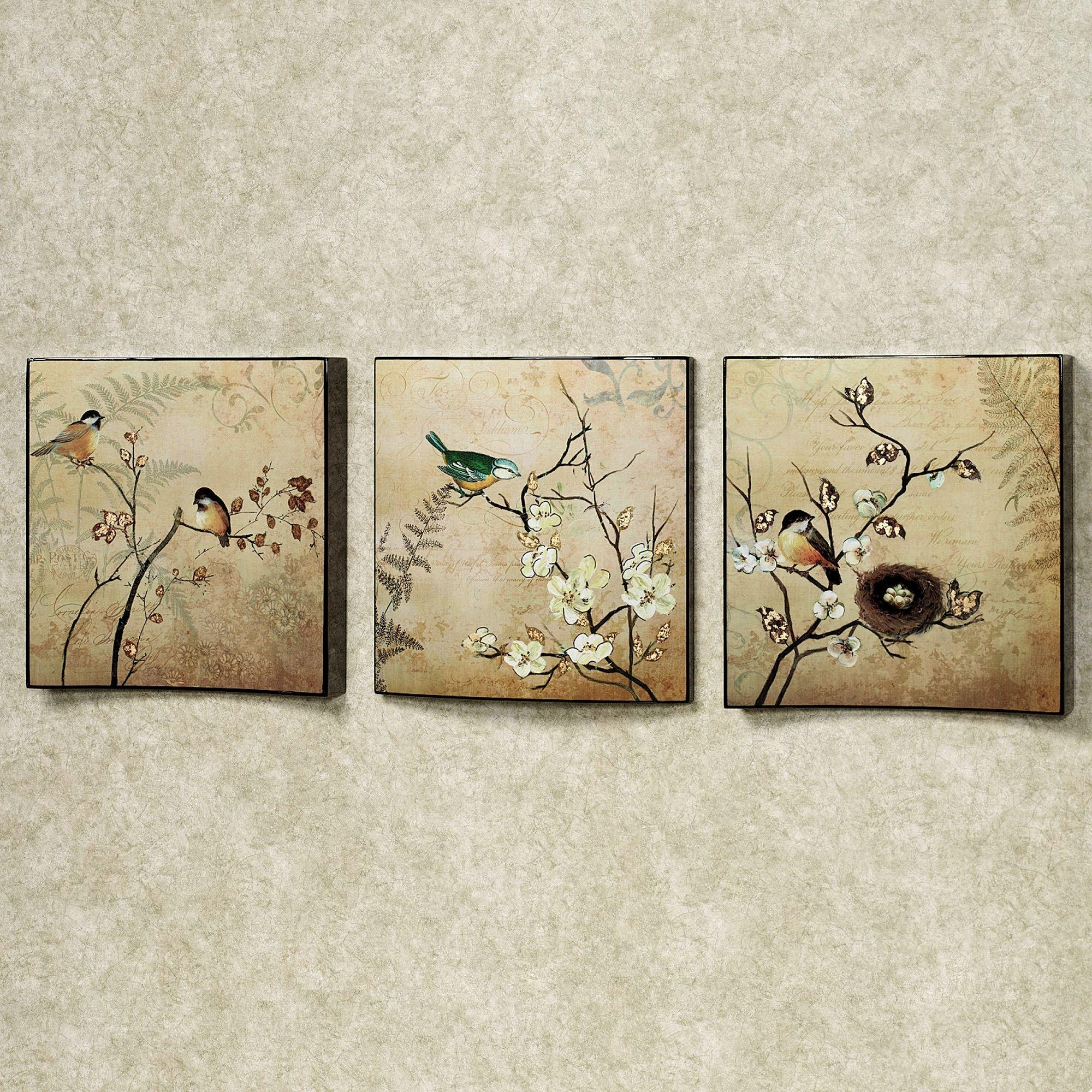 Natures Kiss Birds Wall Art Set With Regard To Wood Wall Art Panels (View 11 of 20)